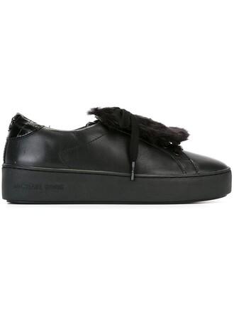 fur women sneakers leather cotton black shoes