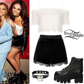 top,little mix,lace top,lace shorts,celebrity style,jesy nelson,shoes,tank top,shorts,jewelry,necklace,choker necklace,black choker