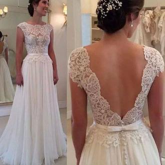 dress white romantic wedding dress gown open back formal vanessawu
