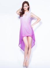 dress,bqueen,gradual,hollow,chiffon,front long,back short,chic,fashion,girl,long dress,sleeveless,purple
