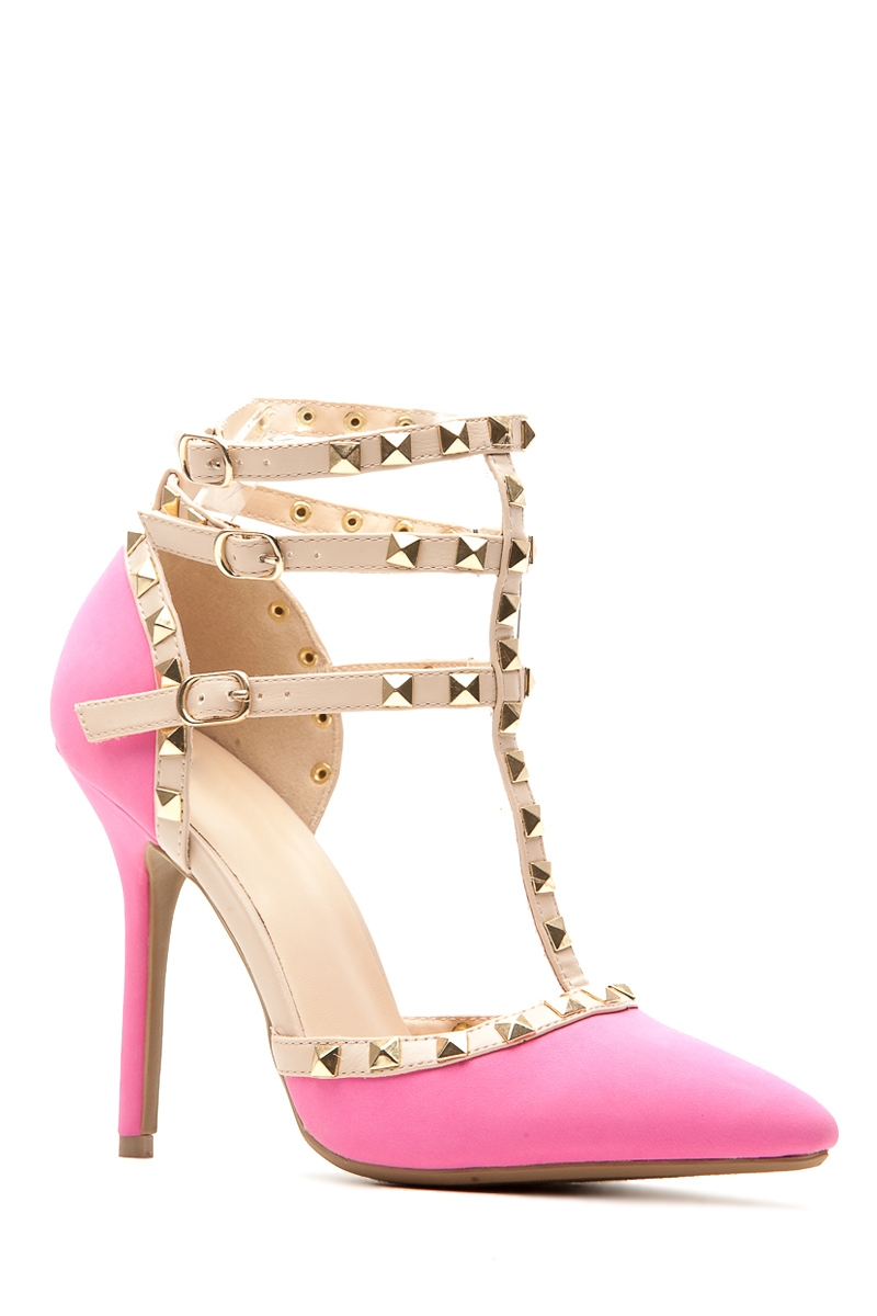 d938b12fb Neon Pink Faux Nubuck Studded Pointed Toe Single Sole Heels @ Cicihot Heel Shoes  online store ...