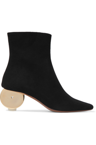 suede ankle boots moon ankle boots suede black shoes