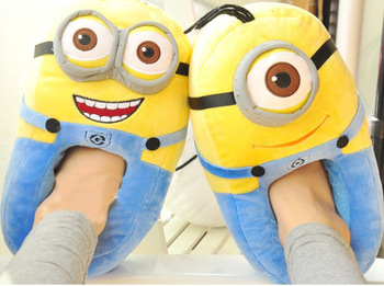 937843b45 Aliexpress.com : Buy cartoon slippers despicable me 2 minions slippers home  shoes soft cotton animal winter home warm slippers for kids women ...