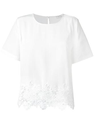 t-shirt shirt embroidered women white silk top