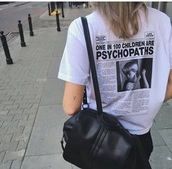 shirt,white shirt,black and white,psycho t shirt
