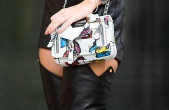 bag tumblr printed bag chain bag over the knee