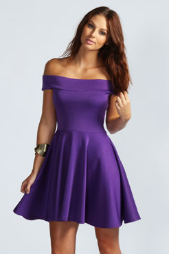 Tamsin Off The Shoulder Skater Dress at boohoo.com