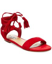 shoes,sandals,flat sandals,red sandals,Red suede sandals,fringes,fringe shoes,fringed sandals,Red low heel sandals