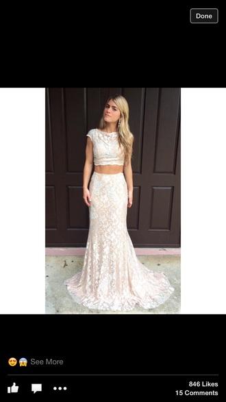 dress prom dress white dress sparkles two-piece