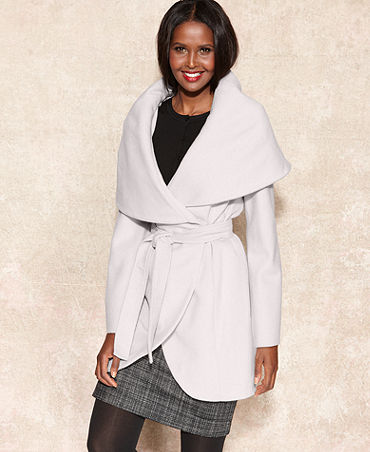 Tahari Coat, Marla Shawl-Collar Wrap - Coats - Women - Macy's