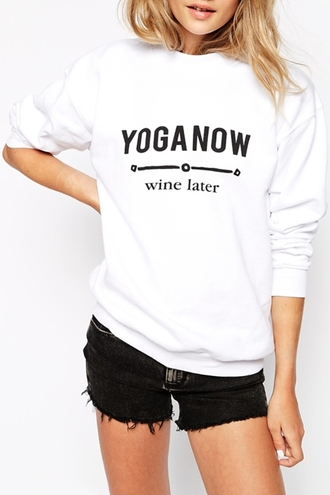 sweater fashion style cool fall outfits black and white long sleeves clothes outfit quote on it sporty yoga funny casual sweatshirt jumper new years resolution