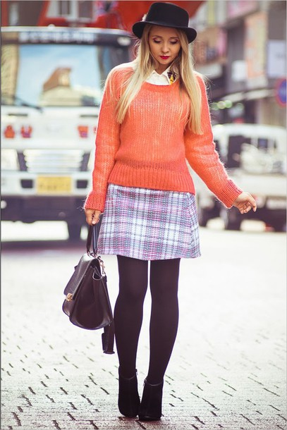 my blonde gal skirt bag sweater blouse shoes hat