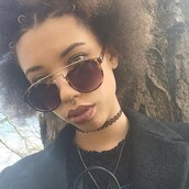 hair accessory,hair rings,curly hair,hairstyles,sunglasses,tortoise shell,tortoise shell sunglasses,black choker,jewels,choker necklace,necklace,tattoo choker,jewelry,septum piercing,nose ring