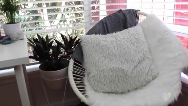 home accessory, chair, egg chair, white, fluffy, pillow, plants ...
