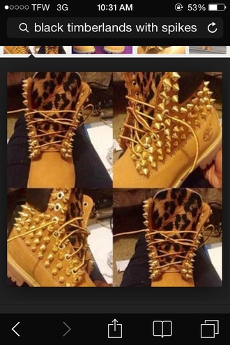 shoes timberland leopard print spike