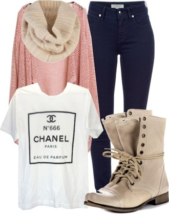 shoes the whole outfit cardigan shirt chanel t-shirt