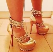 shoes,nail polish,fashion,gold,studs,metallic