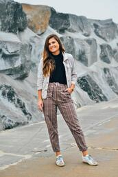 to be bright,blogger,pants,sweater,jacket,shoes,sneakers,fall outfits