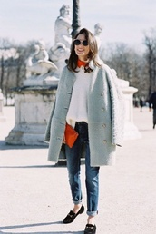 coat,tumblr,pastel coat,pastel,blue coat,fuzzy coat,fluffy,sweater,white sweater,denim,jeans,blue jeans,cuffed jeans,bag,red bag,pouch,sunglasses,loafers,black shoes,flats,black flats,winter outfits,winter look,winter coat,streetstyle,blue fluffy coat