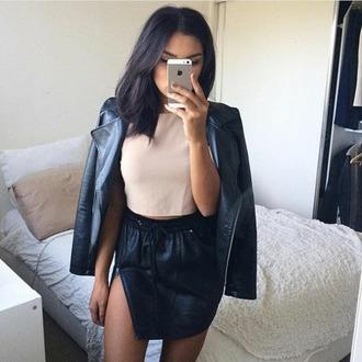 skirt leather skirt