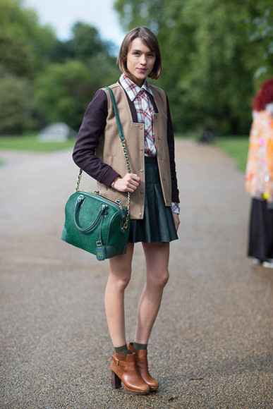 ankle boots boots jacket skirt streetstyle fall outfits preppy dress forest green preppy