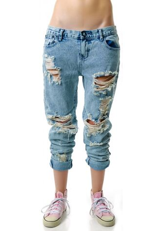 pants destroyed jeans baggy jeans nice cool fashion cheap ripped kawaii destroyed jeans baggy pants clothes light wash ripped jeans