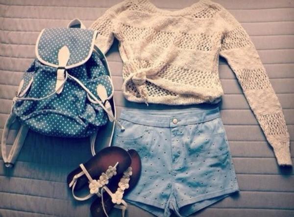 shorts shirt sweater shoes bag
