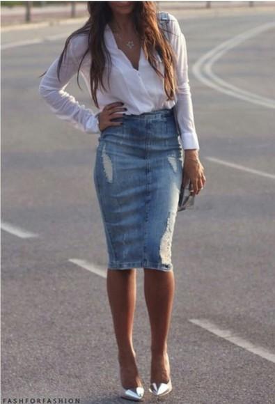 blouse jeans white blouse denim skirt silver heels denim pencil skirt