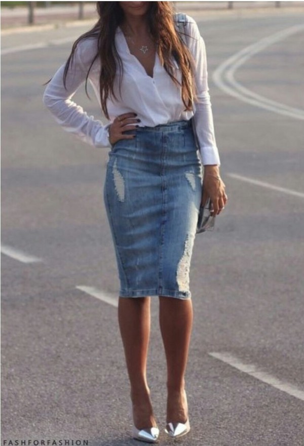 skirt denim skirt white blouse silver heels