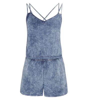 Blue Acid Wash Strappy Back Playsuit