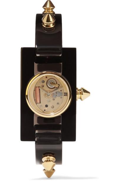 gucci watch gold black jewels