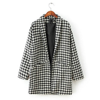open front woolen coat houndstooth coat chic outfit