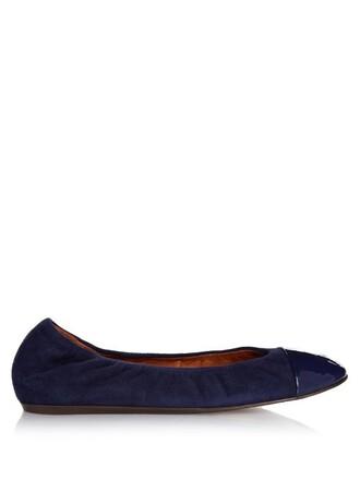 ballet flats ballet flats leather suede blue shoes