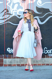 thehuntercollector,blogger,skirt,blouse,sweater,coat,shoes,bag,sunglasses,jewels,pink coat,winter outfits,pleated skirt,shoulder bag,red heels,high heel pumps