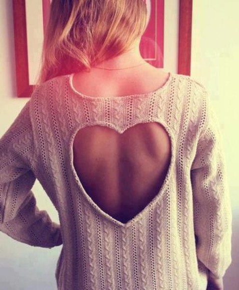 sweater heart open back cozy knit cream summer pretty long sleeve winter cute lovely bag heart cut out knitwear knit sweater hearts cut offs white beige grey cute sweaters cream color heart sweater hoodie cut out shape wool cotton fashion like hair perfect hipster sassy classy stylish shirt blouse brown sweater cut-out