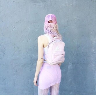 bag pink pastel pastel pink pastel grunge cap baby pink skirt backpack mini skirt bodycon skirt bodycon tights fishnet tight crop tops adidas hat