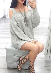 sweater,grey,cold shoulder,off the shoulder,ribbed,oversized cardigan,heels,oversized sweater