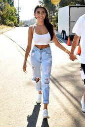 jeans,ripped jeans,high waisted jeans,top,crop tops,tank top,white top,madison beer,sneakers,jewels,necklace,gold necklace,dainty necklace,gold choker,celebrity style,celebstyle for less,dainty choker,celebrity,denim,white,white sneakers,choker necklace,white crop tops