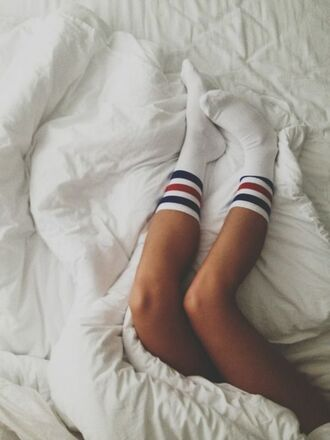underwear socks stripes preppy sporty white striped socks blue stripes red stripes white socks crew socks ankle socks vintage socks sport socks red blue summer bedding white bedding