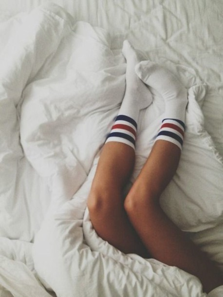 underwear socks stripes preppy sporty white stripes striped socks blue stripes red stripes white socks crew socks ankle socks vintage socks sport socks red blue summer bedding white bedding