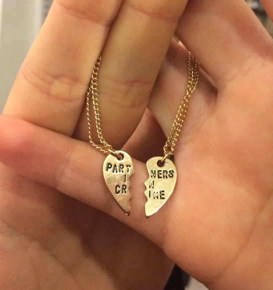 jewels necklace gold gold necklace cute quote on it bestfriends bestfriend necklace partners in crime bff