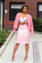 skirt,bra,bralette,classy,pink,pink high heels,white crop tops,white bralette,nice hair,pink is everything!!!,pastel