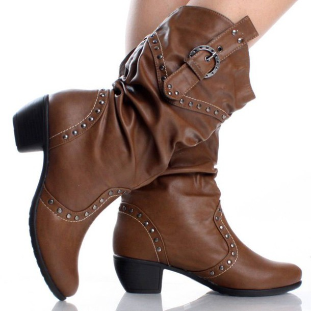 shoes cowgirl boots brown studded cute