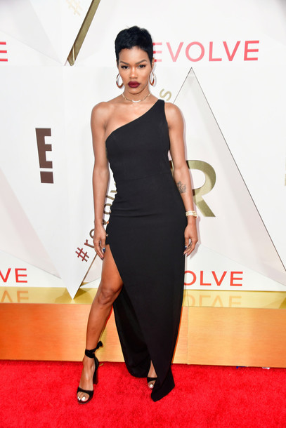 dress teyana taylor black black dress slit dress sandals gown prom dress maxi dress asymmetrical