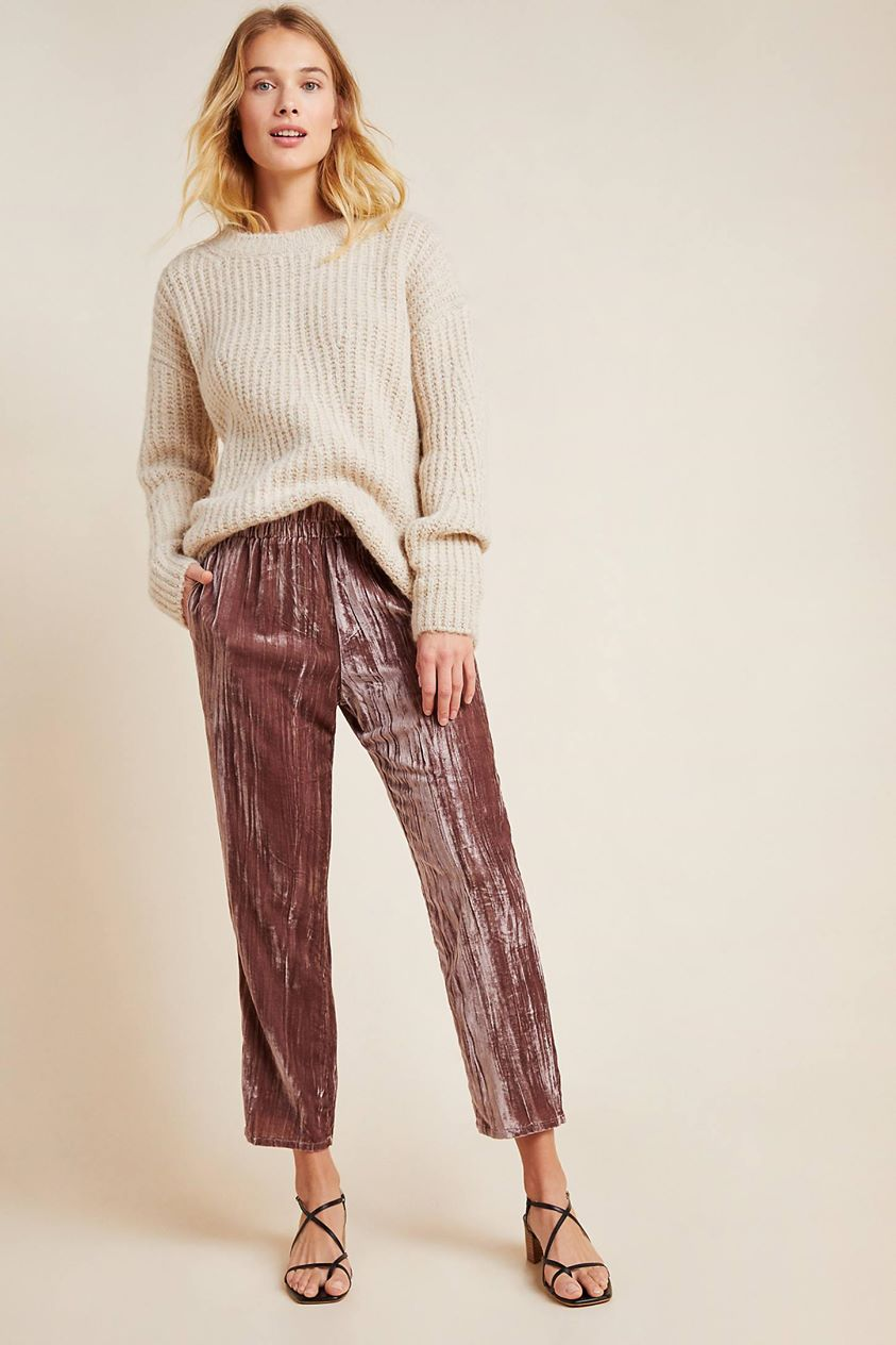 Josephine Velvet Tapered Trousers by Tina + Jo in Purple
