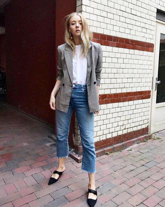 jacket black shoes tumblr blazer grey blazer denim jeans blue jeans cropped jeans shirt white shirt shoes mules fall outfits