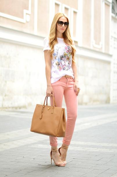 oh my vogue t-shirt jeans shoes bag jewels sunglasses pink jeans white t-shirt printed t-shirt camel bag prada bag prada high heel sandals sandals nude sandals black sunglasses casual chic