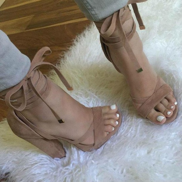 shoes high heel sandals nude heels sandals suade brown suade heels cute lace up tan chunky heels brown leg tie trendy heels nude cute shoes heels