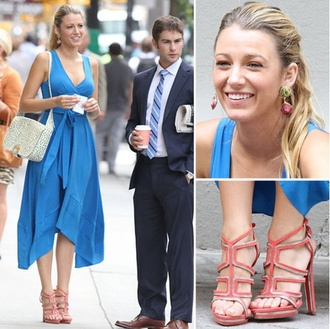 dress serena van der woodsen gossip girl blue dress blake lively