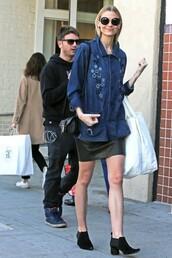 jacket,boots,jaime king,skirt,denim jacket,sunglasses